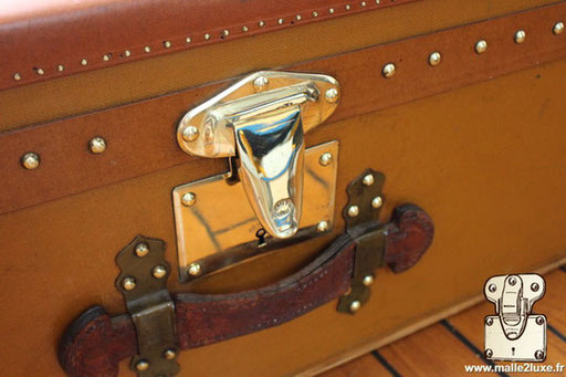 Moynat yellow coated canvas cabin trunk
