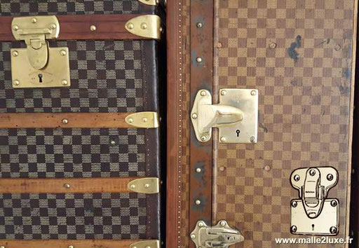 Moynat cabin trunk in two-color checkered canvas