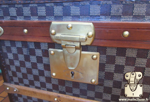 Moynat cabin trunk in checkered coated canvas