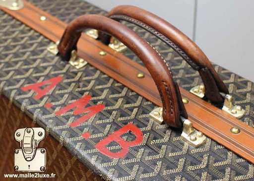 valise Goyard ancienne malle a chaussure personnalisation initiales AMB