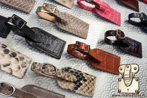porte étiquette maroquinerie paris luxe cuir crocodile noir mat