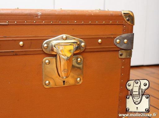 malle cabine Moynat toile enduite orange