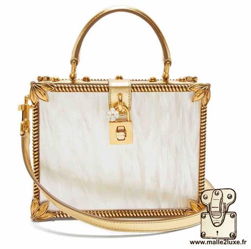 BOX BAG - DOLCE & GABBANA sac a main rigide mini malle blanc