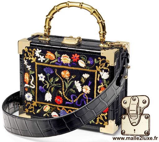 sac a main petite malle pas cher couleur mode MINI TRUNK CLUTCH - ASPINAL OF LONDON