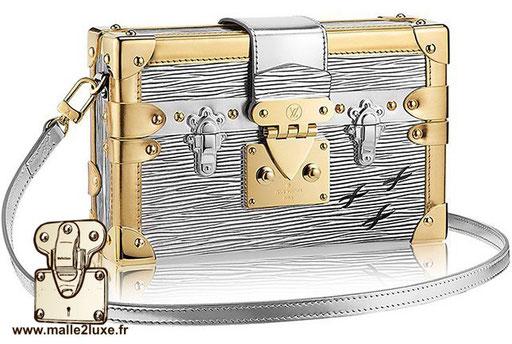 sac petite Malle Louis Vuitton métallique laiton et aluminium