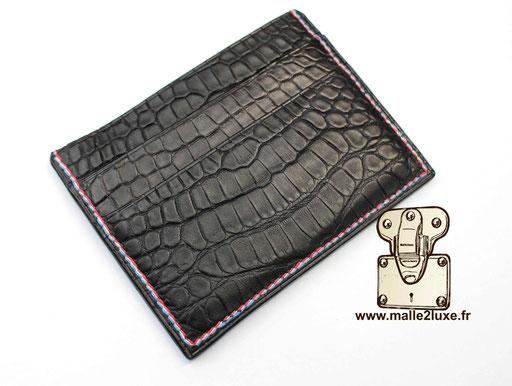 cuir de crocodile noir porte 6 cartes