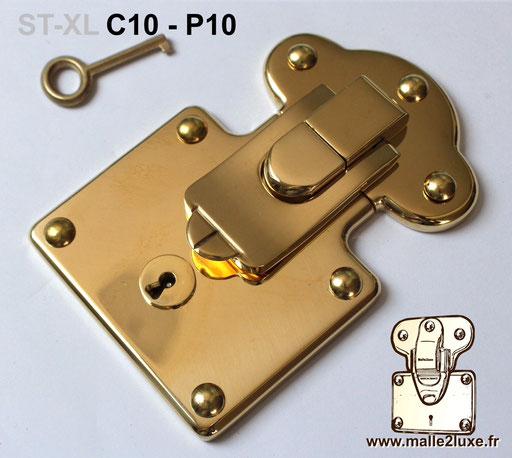 serrure laiton massif pour malle avec clés neuve