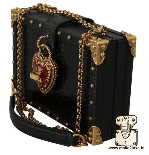 BOX BAG - DOLCE & GABBANA sac a main rigide mini malle coin la