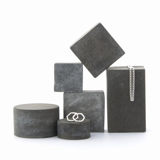 Dark Geometric Concrete Still, Jewellery Photo Prop Set of 6 No32 by PASiNGA