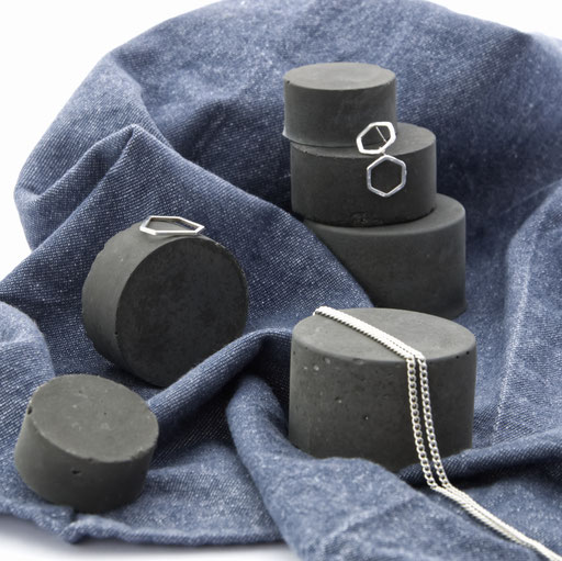 Dark Concrete Cylinder Still, Stackable Jewellery Prop Set No33 by PASiNGA