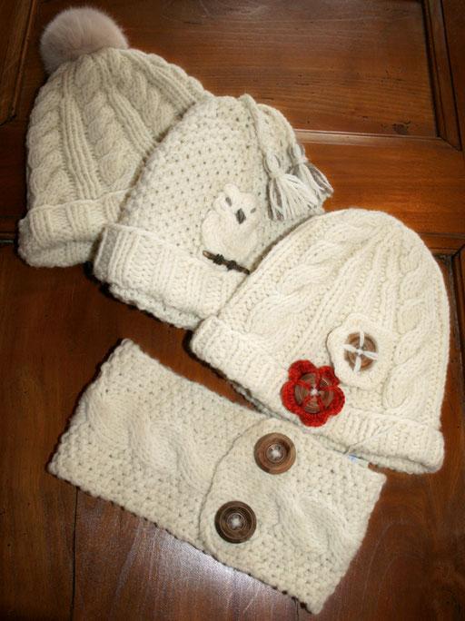 Les bonnets bien chauds (fil mérinos Gretala)