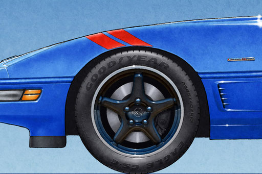 A new feature on the 1996 Corvette Grand Sport personalized drawing is to have the Good Year Eagle GS-C tire lettering