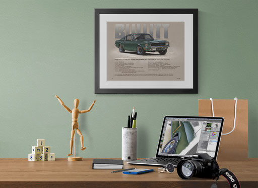 Here is the printed drawing professionally framed in a decorative context of an home office