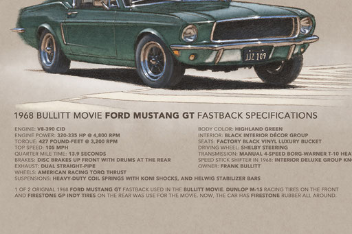 The specs of the Bullitt movie car are well detailed on the limited edition printed drawing