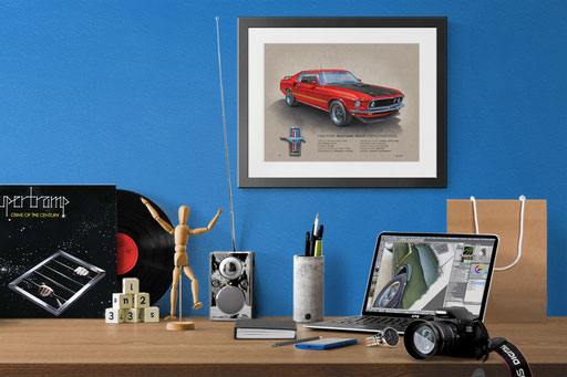 The Vintage looking art print in a decoration context.