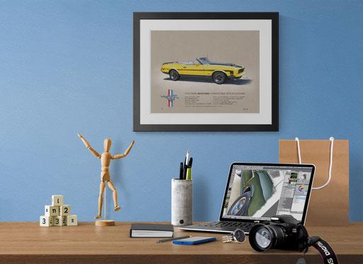 """Voici le dessin au look """"vintage"""" de la Mustang 1971 à 1973 dans sa version cabriolet sport"""