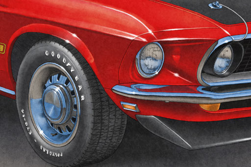 The 1969 Mach 1 is drawn respecting the factory installed elements back in the days.