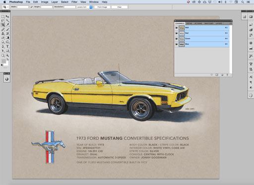 Le dessin est ensuite numérisé et coloré à l'aide de Photoshop. La coloration du dessin se fait avec un crayon et une tablette Wacom, ce qui en fait une IMAGE DESSINÉE À 100%