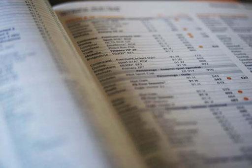 Automatisierte Tabellenwerke und Preislisten