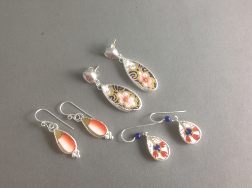 Custom order - three different earrings from one tea set of Great-Grandmother's fine bone china.