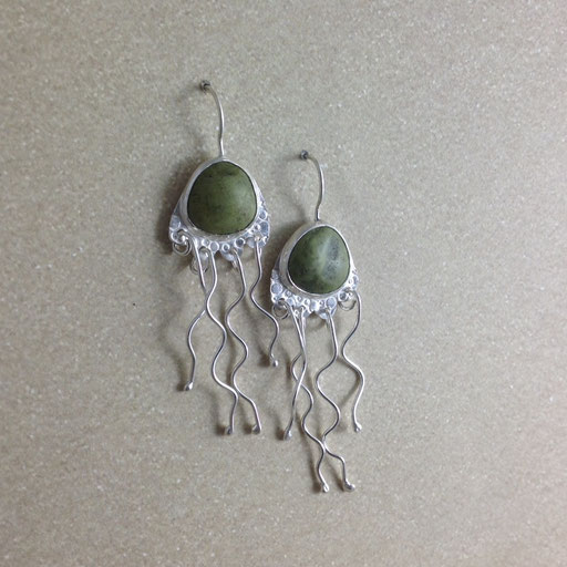 Vancouver Island beach stones for dangly jellyfish earrings - tentacles for days!