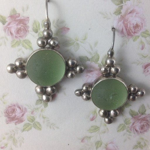 An homage to the delectable jewellery of Downton Abbey - soft green shipwreck marbles halves for a perfect match. Yes! Marbles were often used as ballast in ships and if there was a shipwreck the marbles were freed, much to the delight of beachcombers.
