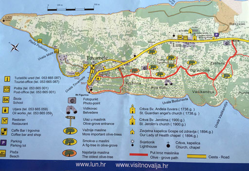 Pag Karte von Lun und den Olivengarten
