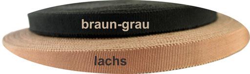 grey-brown und salmon viscose ribbon