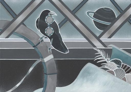 海と女とカラス  297×210(mm) 2015. acrylic on panel