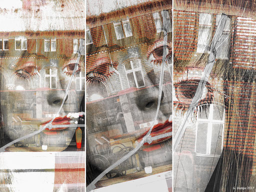 The face inside the splitted shop window
