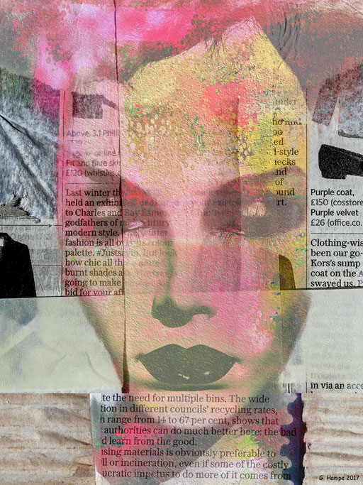 Between newspaper and mixed media
