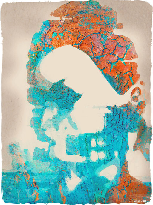 The crinkled turquoise woman with the orange hair
