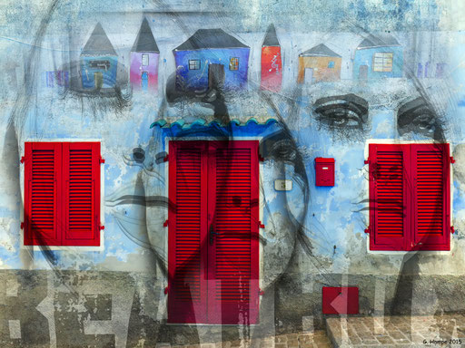 Faces, houses and red windows
