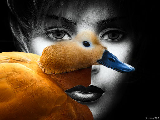 The woman with the orange duck
