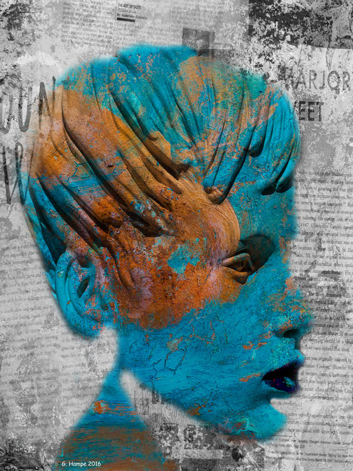 The turquoise face with some words