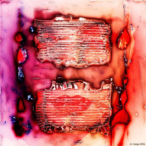 Red lips behind metal stripes