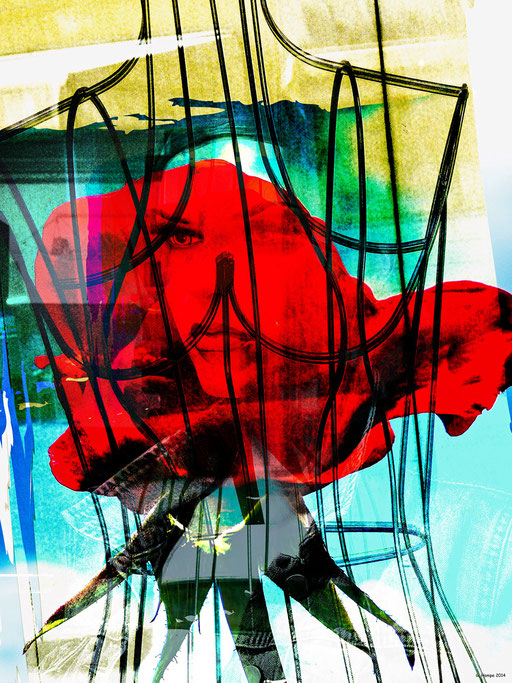 Face and captured rose
