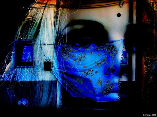 Behind the blue curtain