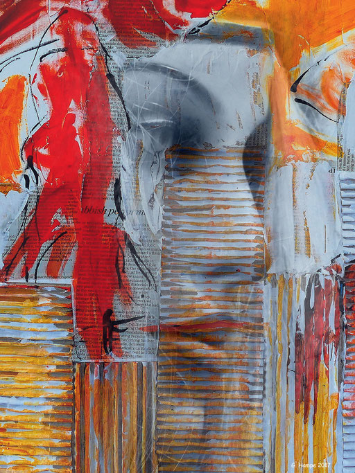 The woman inside the abstract art