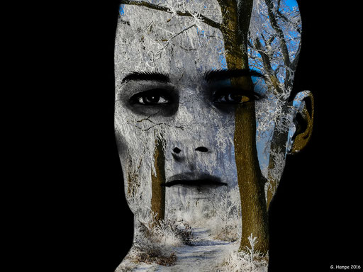The man in the winter forest