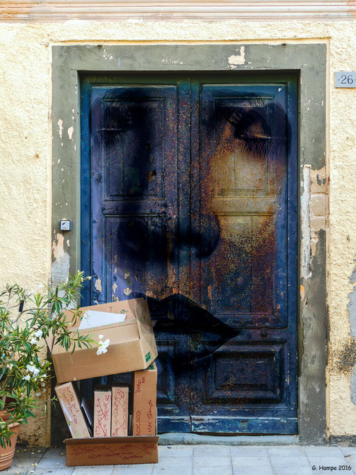 The face behind the blue door