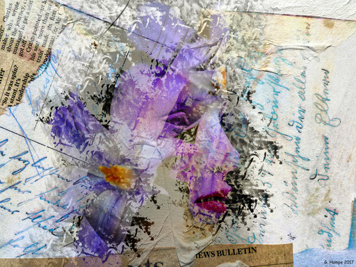 The face with the flowers and old words