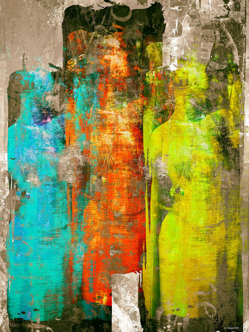 Three colorful woman