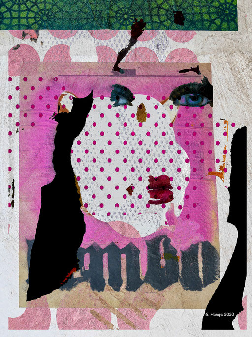The face with the pink dots