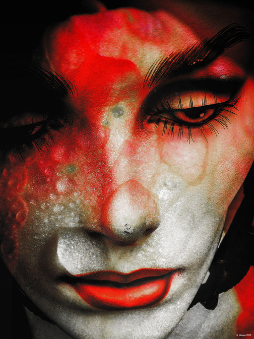 Tears and red lips