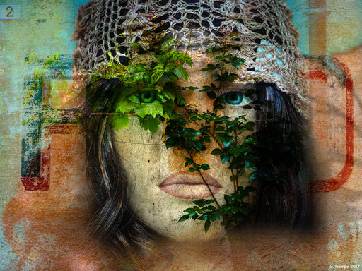 The face with the green leaves
