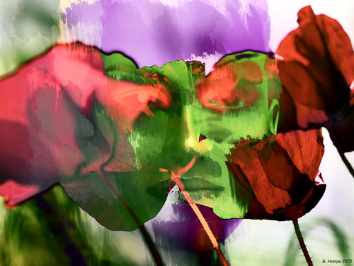 The green face with poppies