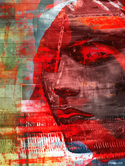 Red abstract girl