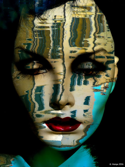 The woman with the water reflection
