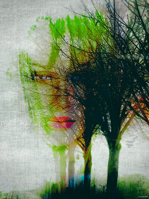 One woman in the autumn